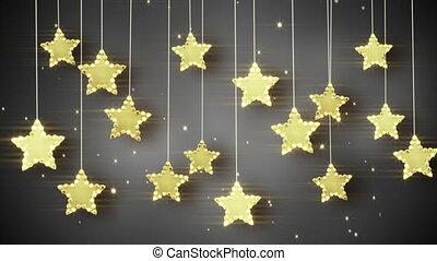 or, lumières, étoiles, pendre, noël, boucle