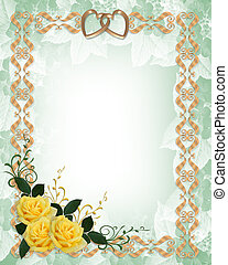 or, mariage, roses jaunes, invitation, frontière