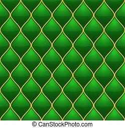 or, matelassé, cuir, seamless, arrière-plan., vecteur, vert