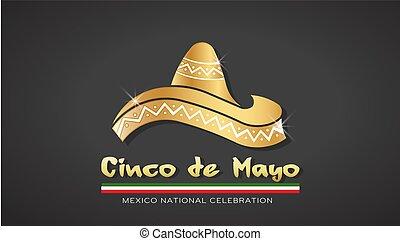 or, mayonnaise, de, illustration, cinco, vecteur, chapeau, celebration.
