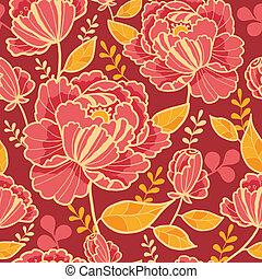 or, modèle, seamless, fond, fleurs, rouges