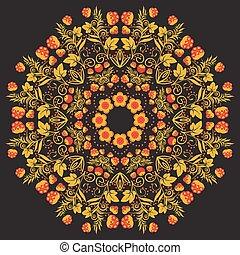 or, modèle, traditionnel, mandala., arrière-plan noir, russe, baies, rouges, circulaire