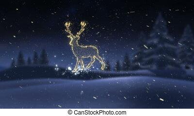 or, neige, incandescent, renne, noël