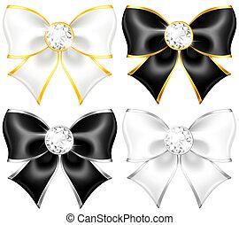 or, noir, arcs, bordure, diamants, blanc