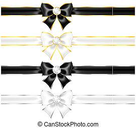 or, noir, arcs, bordure, diamants, blanc, rubans