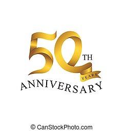 or, nombre, années, couleur, anniversaire, ribbon., 50th