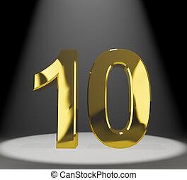 or, nombre, anniversaire, anniversaire, closeup, 10ème, spectacles, ou, 3d
