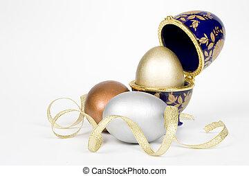 or, oeufs, verre, eggcup, oeuf, argent, bronze