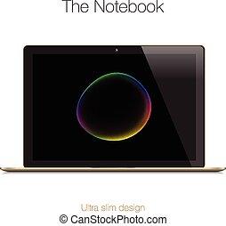 or, ordinateur portable, moderne, isolé, lustré, blanc
