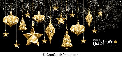 or, ornement, décoration, année, nouveau, noël