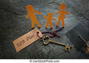 or, papier, clã©, plan, famille, 529