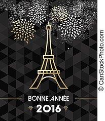 or, paris, voyage, eiffel, france, année, nouveau, 2016
