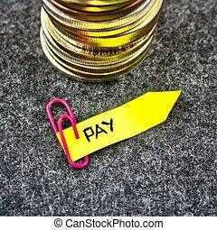 or, payer, pièces, -, jaune, flèche