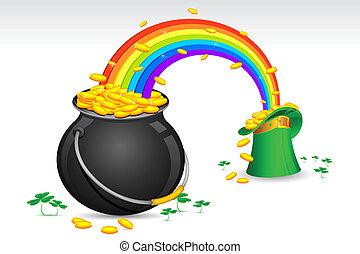 or, pot, pièces, saint, chapeau, patrick's, rempli