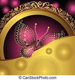 or, pourpre, vendange, cadre, papillons, dentelle