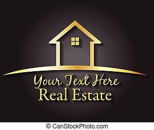 or, propriété, logo, vrai, vecteur, maison