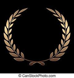 or, récompense, vecteur, arrière-plan noir, couronnes, laurier