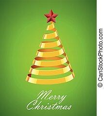 or, résumé, arbre, arrière-plan vert, noël, ruban