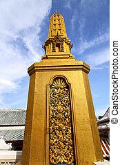 or, résumé, croix, l, bangkok, thaïlande, temple