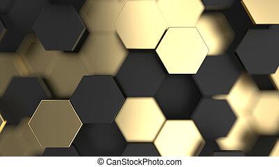 or, résumé, hexagones, arrière-plan noir, 3d