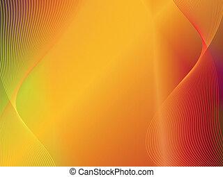 or, résumé, jaune, vague, fond, orange