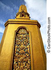 or, résumé, métal, croix, bangkok, thaïlande, temple