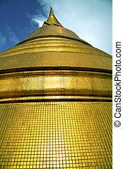 or, résumé, métal, croix, toit, bangkok, thaïlande