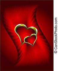 or, résumé, valentines, fond, cœurs, rouges