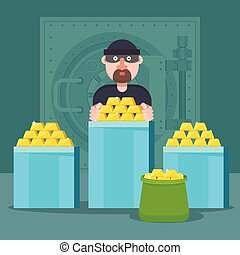 or, robbed, bandit, gold., monnaie, swindler, réserves, banque