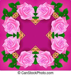 or, rose, cadre, ornement, illustration, fond, vendange