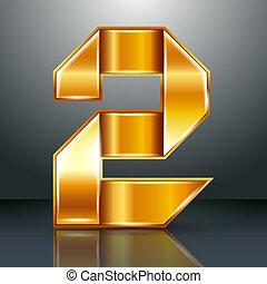 or, -, ruban, métal, 2, deux, nombre