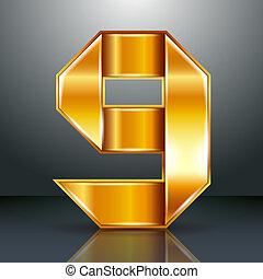 or, -, ruban, métal, 9, neuf, nombre