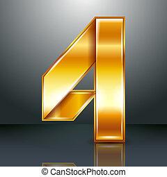 or, -, ruban, quatre, métal, 4, nombre