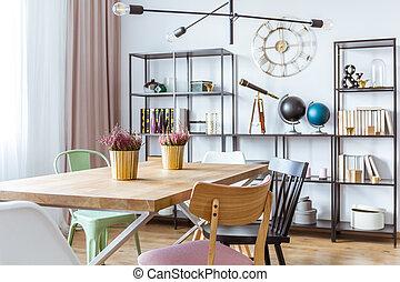 or, salle manger, intérieur