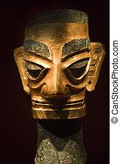 or, sanxingdui, musée, masque, sichuan, porcelaine, bronze,...