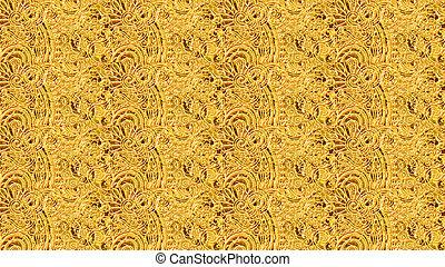 or, seamless, floral, fond, papier peint, vendange