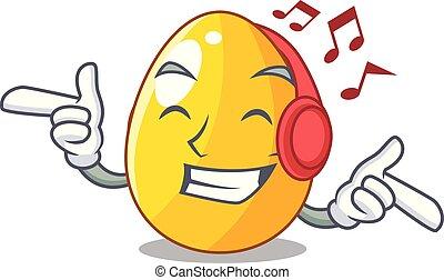 or, simple, caractère, musique écouter, conception, oeuf