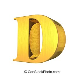 or, solide, collection, lettre, d, 3d