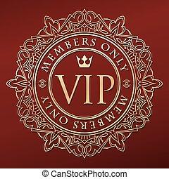or, sous-titre, orné, inhabituel, rond, décorer, crown., riche, seulement, décor, cadre, élégant, membres, vip