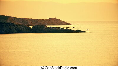 or, sur, levers de soleil, mer, 4k