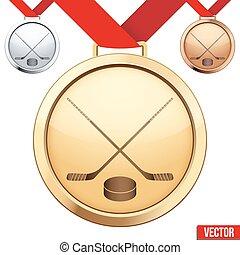 or, symbole, hockey glace, médaille, intérieur