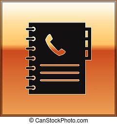 or, téléphone, adresse, isolé, book., téléphone, arrière-plan., vecteur, noir, illustration, directory., livre, icône
