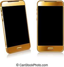 or, téléphone, cellule, intelligent, mobile