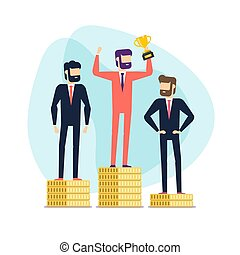 or, tenue, gagnant, debout, enjôleur, monnaie, trophy., homme affaires