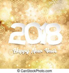 or, texte, fond, année, nouveau, flocon de neige, heureux