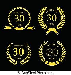 or, trente, laurier, anniversaire, ensemble, années, couronne
