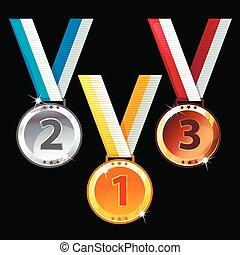 or, -, trois, médailles, bronze, argent