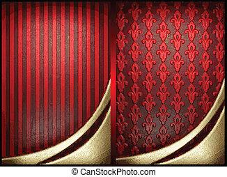 or, vecteur, arrière-plan rouge