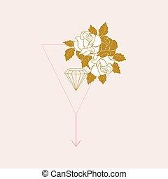 or, vecteur, blanc, rose, diamant, illustration., roses