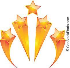 or, vecteur, ensemble, étoile, conception, illustrateur